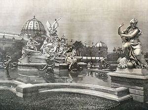 Exhibition-Universal-Paris-1889-Fountain-Monumental-of-Coutan-Print