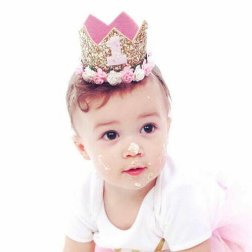 1x Geburtstag Krone Blume Tiara Stirnband Baby Party Haarbänder Zubehör