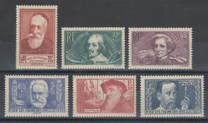 France-Sc-B54-B59-MNH-1938-French-Intellectuals-cplt-set-VF