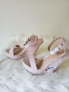 light pink wedge heels