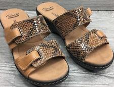 ca7d63494a4e CLARK Delana Fenela Women s Light Tan Snake Print Leather Sandal EU38 ...