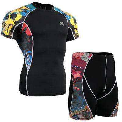 FIXGEAR C2S/P2S-B46 SET Compression Shirts & Shorts Skin-tight MMA Training Gym