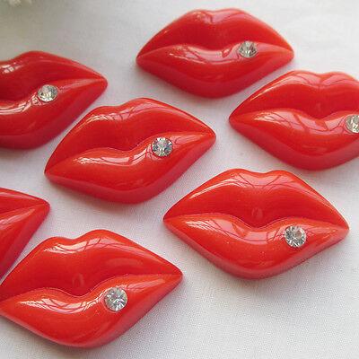 Upick 10/50pcs Red Resin Mouth Flatback Scrapbooking Accessories 40x28mm JOB137