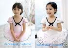 New Kids Girls Short Sleeve Ballet Costume Tutu Dance Leotard Skirt Dress 2Color