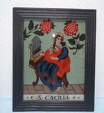 """Hinterglasmalerei """"Hl.Cäcilia"""" - Hinterglasbild - Sandl ca. 1950"""