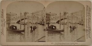 Venezia il Rialto Italia Foto Stereo Vintage Albumina 1898