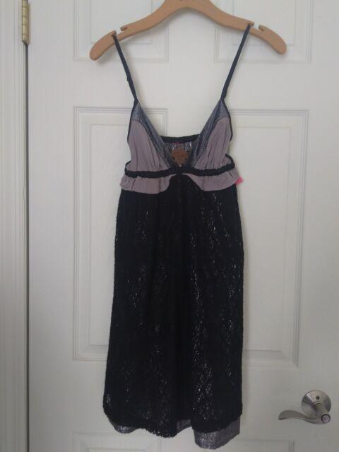 5dcd23795d2 NWT FREE PEOPLE Black Silver Lace Velvet Babydoll Dress Sz 2