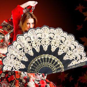 Spanish Style Dance Party Wedding Flower Lace Silk Fans Hand Held Folding Black