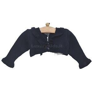 Coprispalle Elegante in Misto Lana Blu con Rouches Per Neonata Dr.Kids 304