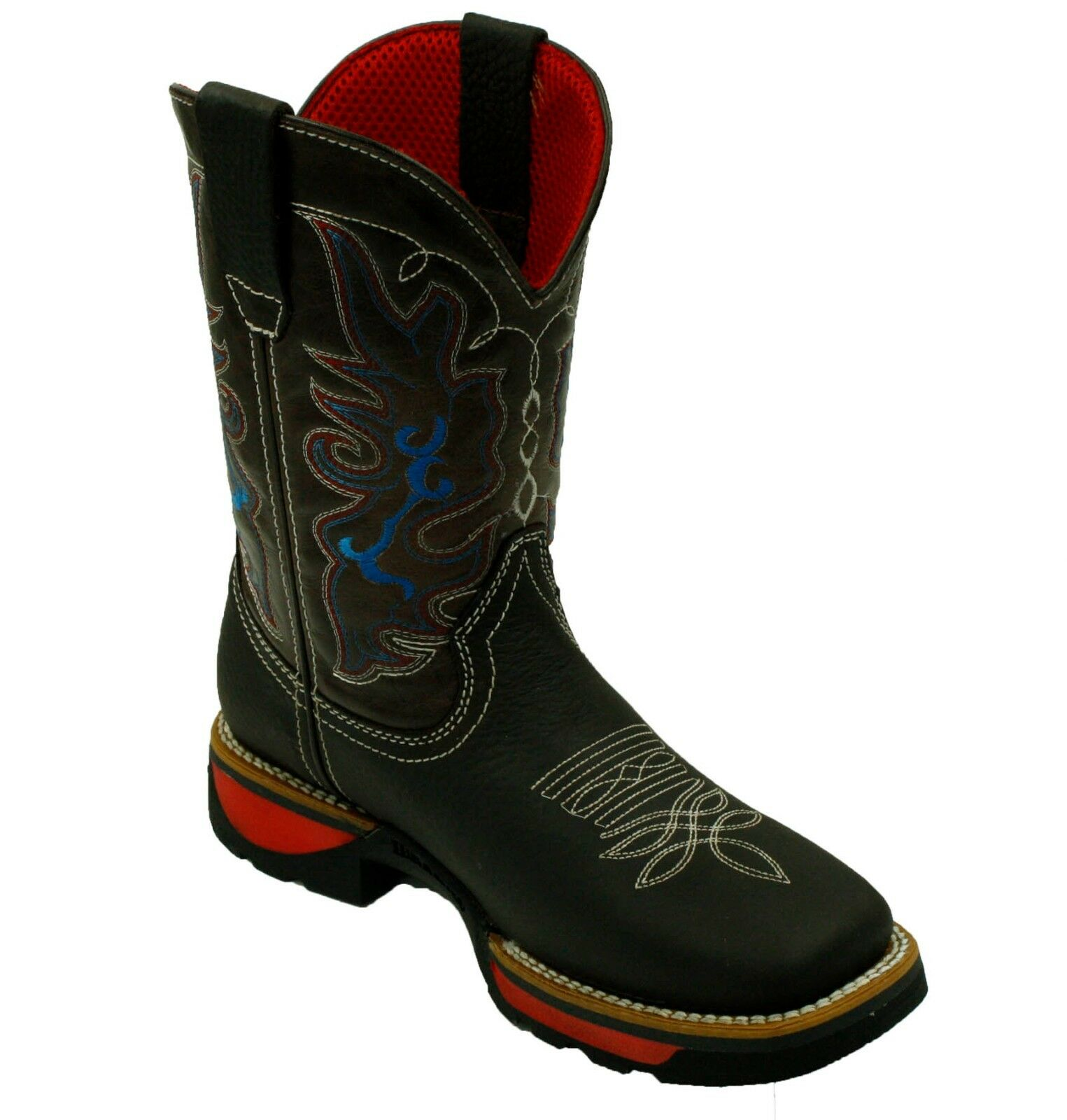 MEN'S RODEO COWBOY BOOTS GENUINE LEATHER WESTERN SQUARE TOE BOOTS LIGHT WEIGHT