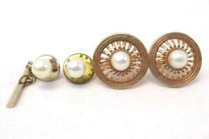 Vintage Swank Men's Toggle Back Cuff Links Tie Tack Tie Pin Faux Pearl