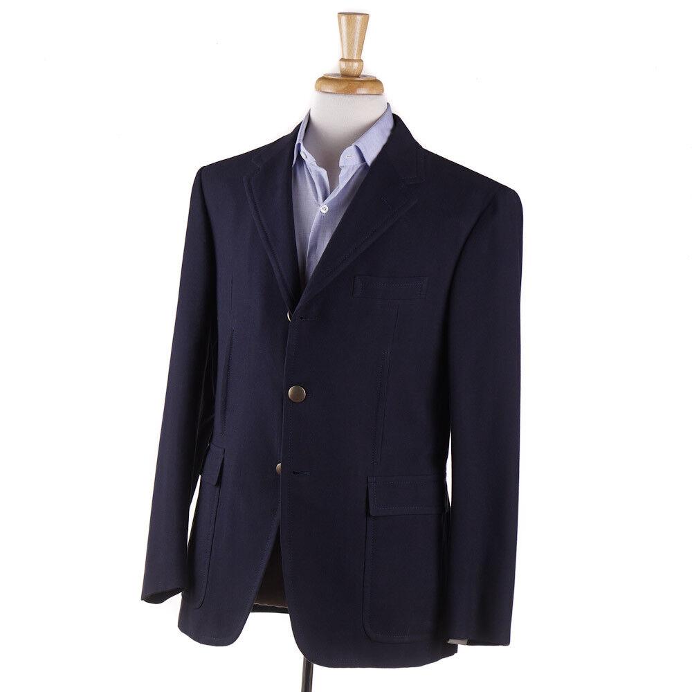 NWT  D'AVENZA Navy bluee Woven Cotton Blazer 40 R (Eu 50) Sport Coat