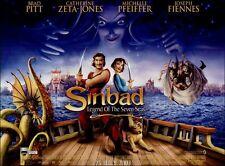 2x Sinbad Legend Of The Seven Seas - Original UK Mini Quad Poster - Brad Pitt