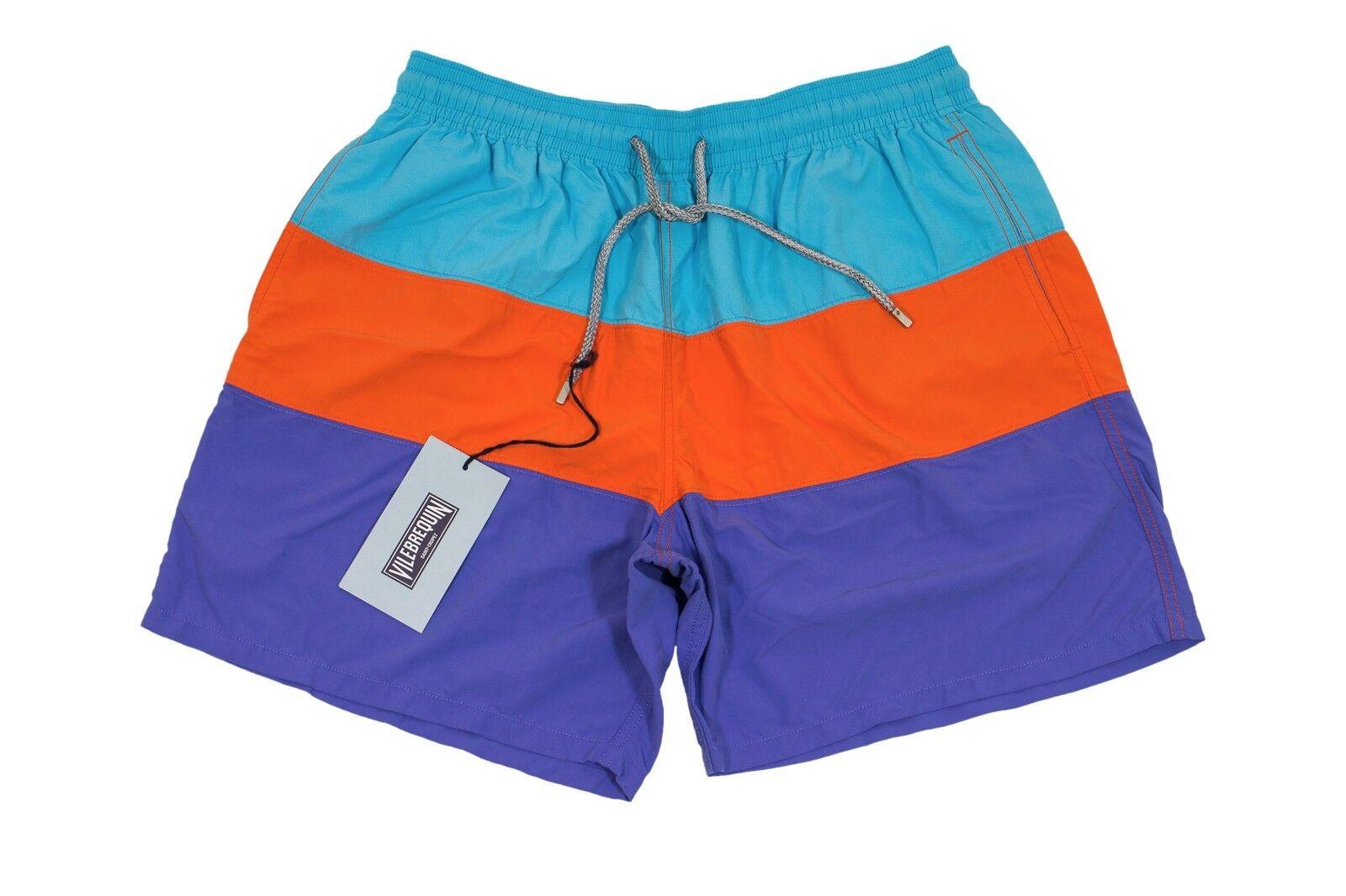 Vilebrequin Polyamide XXL Swim Trunks Lavender orange Turchese Striped - MIXEA