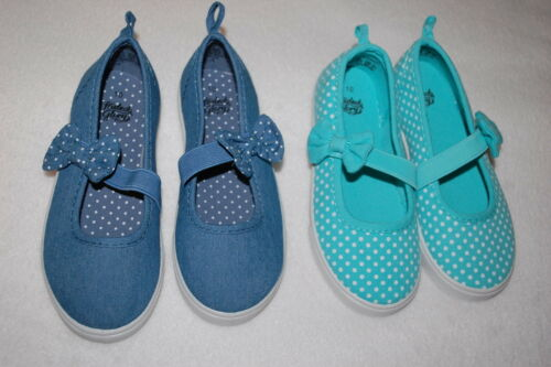 Toddler Girls Shoes 2 LOT CANVAS MARY JANES Teal Polka Dot Blue SIZE 7 8 9 10 11