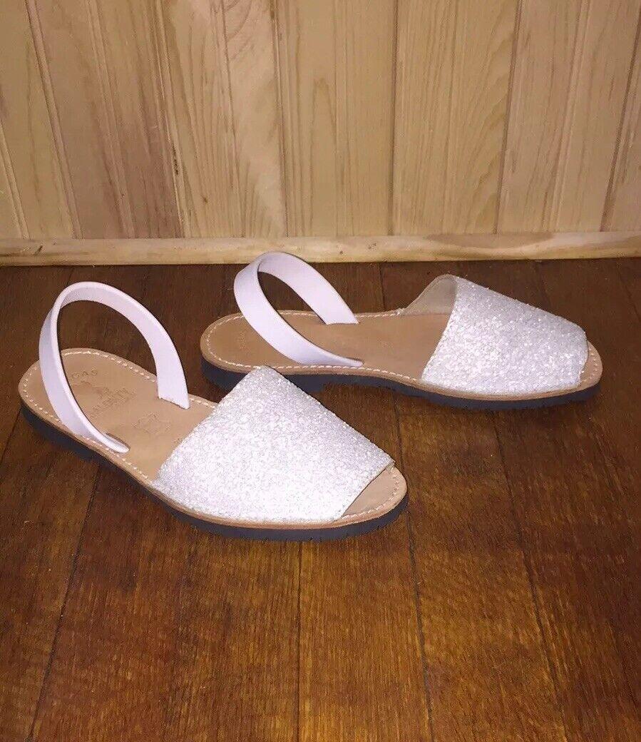 Avarcas Jalonty White Textured Slip On Sandals EU 38 US Sz 7 7.5 8