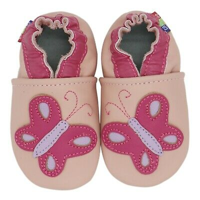 carozoo bird pink 6-12m soft sole leather baby shoes