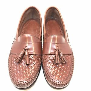 e523ce35f0858 Details about Bass Mens Size 10.5 M Brown Leather Woven Tassel Moc Loafers  Shoes