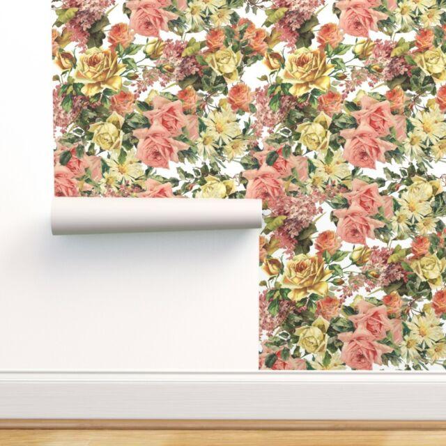 Peel-and-Stick Removable Wallpaper Flower Floral Blossom Botanical Vintage Retro