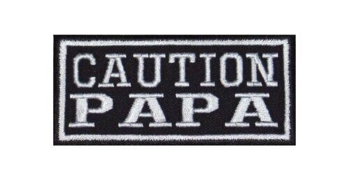 Caution papà Patch Biker Rocker ricamate tonaca MOTO padre famiglia amore papà
