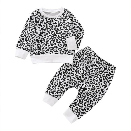 Toddler Baby Girl Boy Print Clothes O-Neck Top Pant Cotton Outfit Set Tracksuit