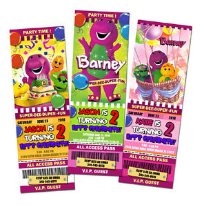 Image Is Loading BARNEY THE DINOSAUR BIRTHDAY PARTY INVITATION TICKET 1ST