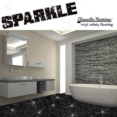 Bathroom Flooring Vinyl Lino Black Sparkle Safety Floor