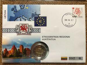 Numisbrief 2 Euro Litauen 2020 - Region Aukschtaitien