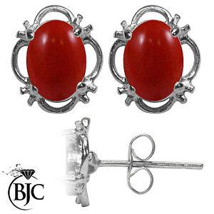 BJC-9-ct-Oro-Blanco-Natural-Rojo-Coral-Individual-Pendientes-De-Presion