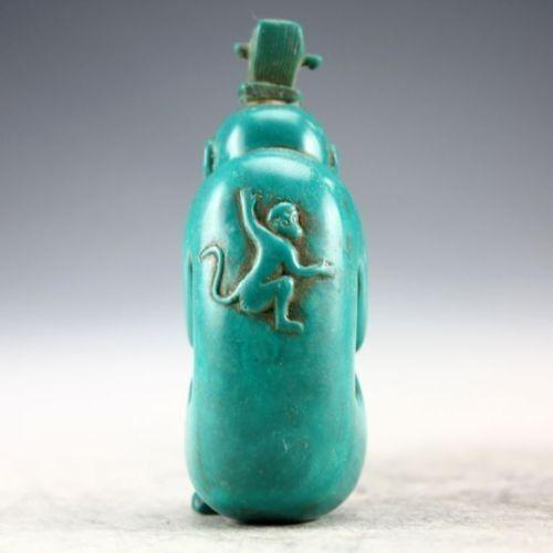 Oriental Vintage Handwork Carved Turquoise Monkey Snuff Bottle