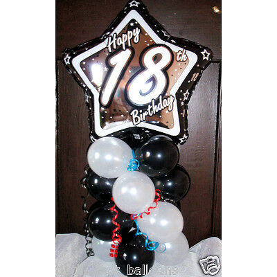 "AGE 18 18TH BIRTHDAY 18"" FOIL BALLOON TABLE DISPLAY DECORATION AIR FILL star BW"