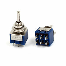 2pcs Ac 125v 6a 6pin 3 Positions On Off Dpdt Latching Mini Toggle Switches Blue