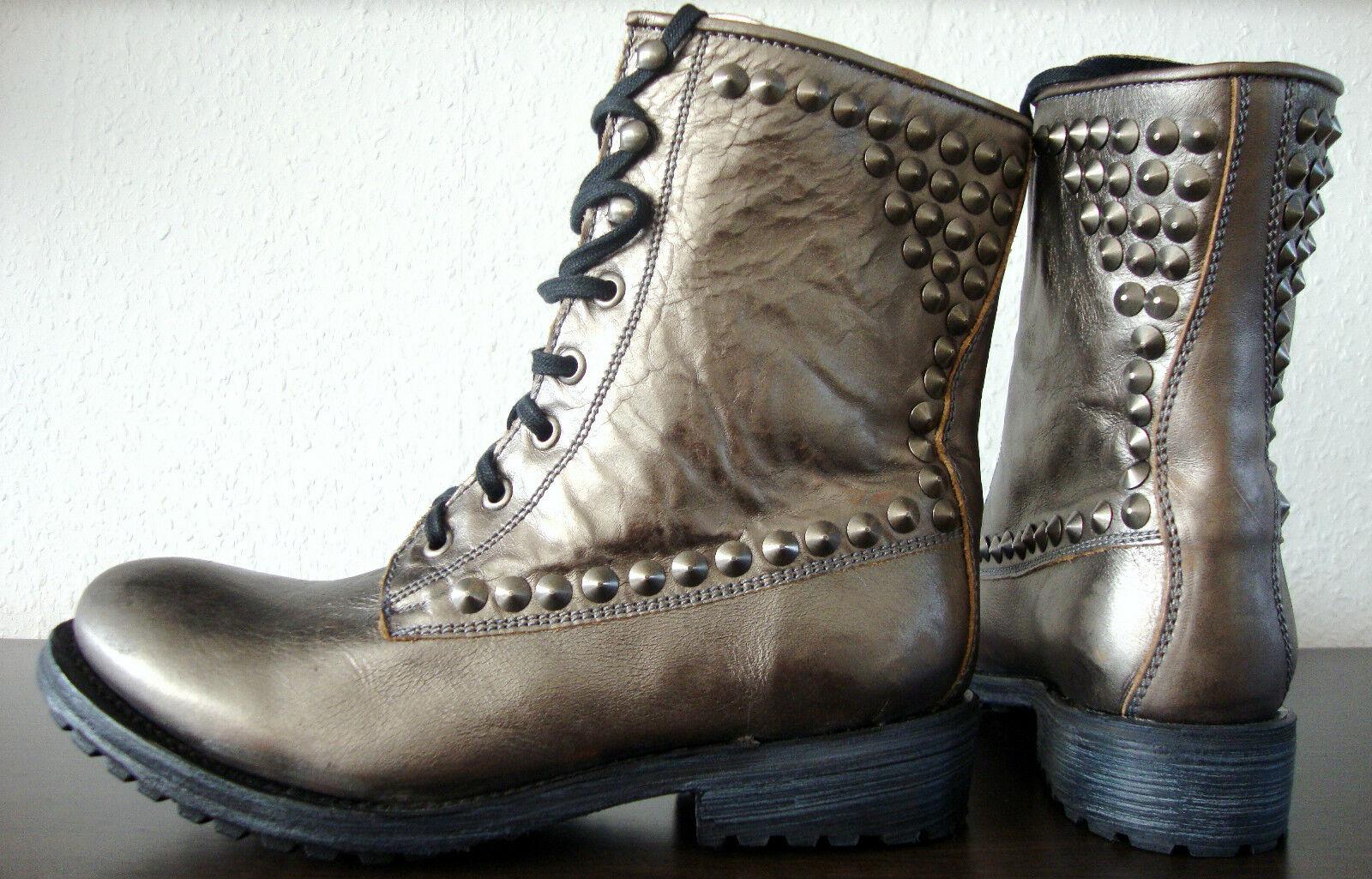 Ash Ralph botas de motorista señora botas botín cuero con tachuelas de metal oro gr40 nuevo