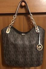 New  MICHAEL KORS Ladies Brown Jet Set Monogram Tote Bag With Chain - Med