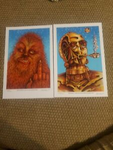 Star-Wars-Emek-420-PO-Offbrand-Wook-Signed-Print-Set-Chewbaca-C3po-R2D2-Sold-Out