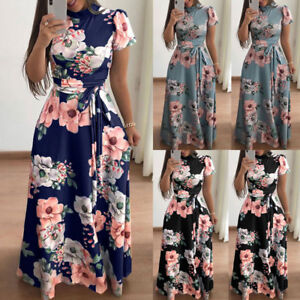 Women-039-s-Summer-Boho-Floral-Long-Maxi-Evening-Cocktail-Party-Beach-Dress-Sundress