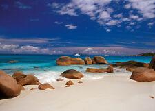 Wall mural wallpaper - For bedroom & living room - Seychelles Stones on beach