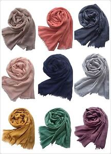 Ladies Plain Scarves Large Size Women Super Soft Cotton Hijab Pashmina Hijab Ebay