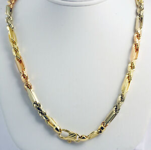 81 Gm 14k Tri Color Gold Heavy Men S Figarope Milano Chain
