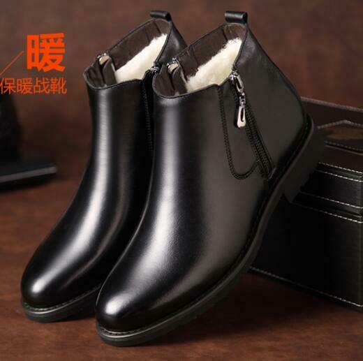 Men/'s Casual Zipper Low-Top Winter Boots Slip On Warm Leather Shoes Office Dress