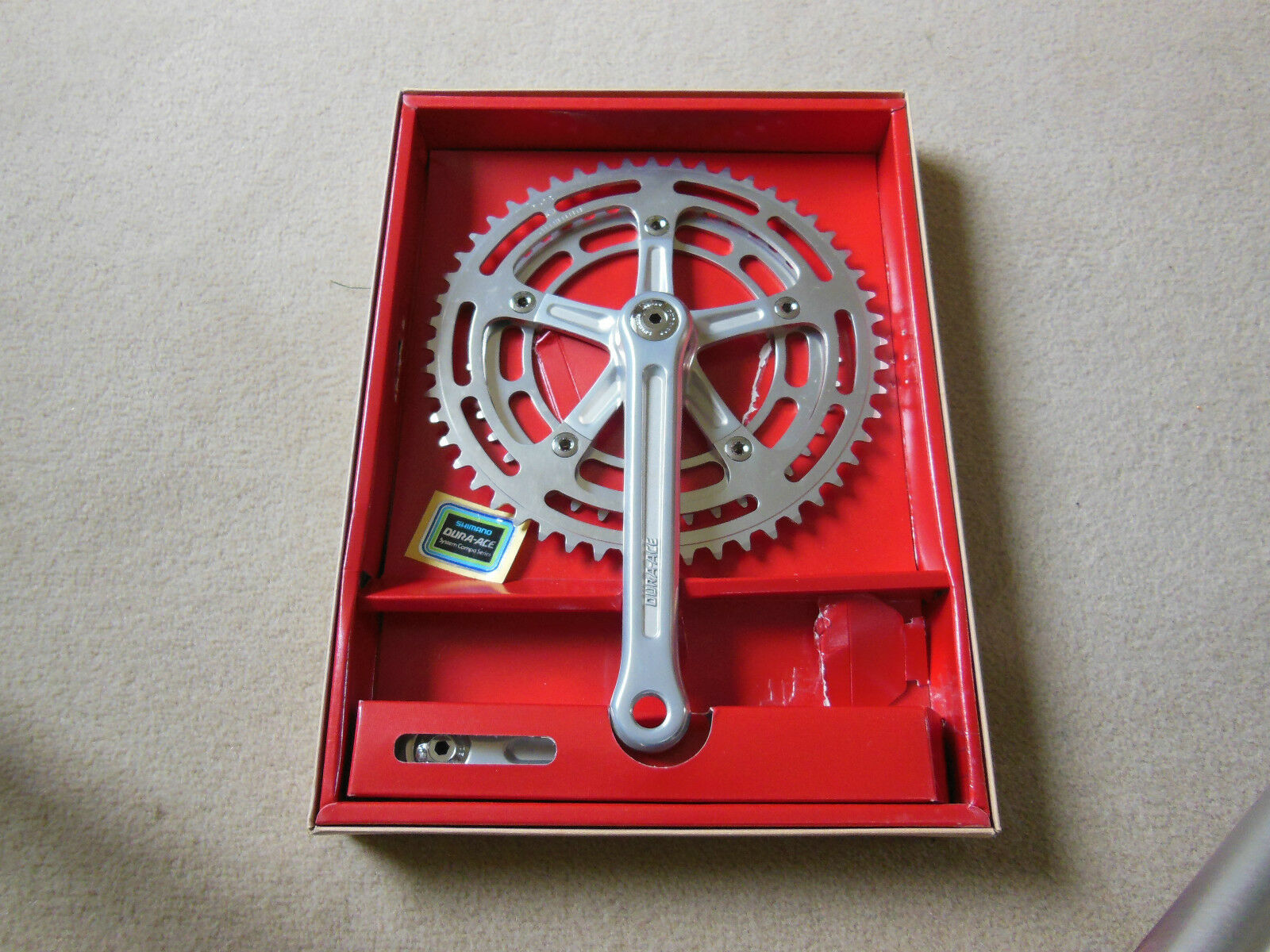 VINTAGE SHIMANO DURA ACE COTTERLESS RACING BICYCLE CHAINSET, NOS 1ST  GENERATION  offering 100%
