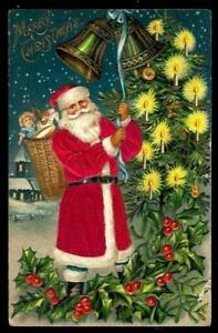 SILK-Santa-Claus-with-Basket-of-Toys-Holly-Antique-Christmas-Postcard-s105