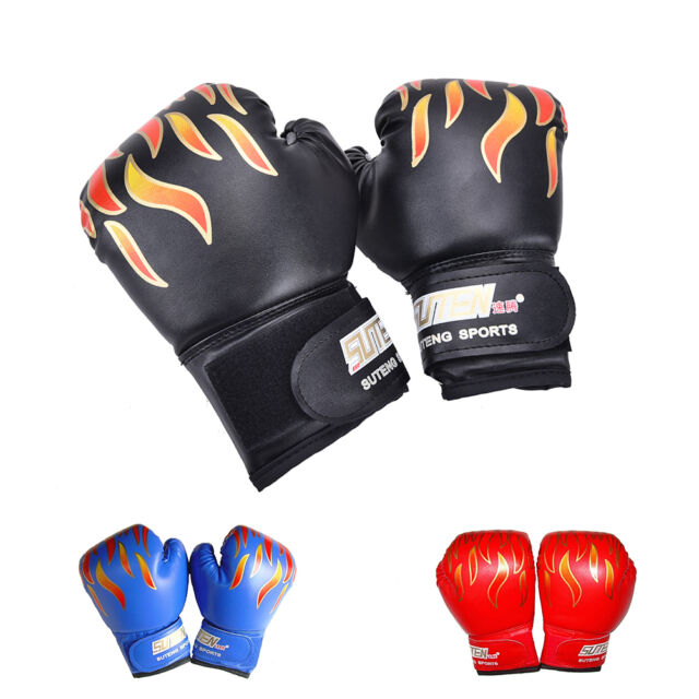 Children Kids FIRE Boxing Gloves Sparring Punching Fight Training Age 3-12 B HS