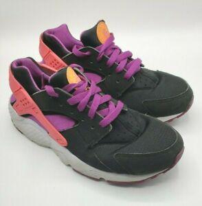 Nike Huarache Run GS Girls Sneakers Shoes SZ 7Y Black Pink Purple 654280-001