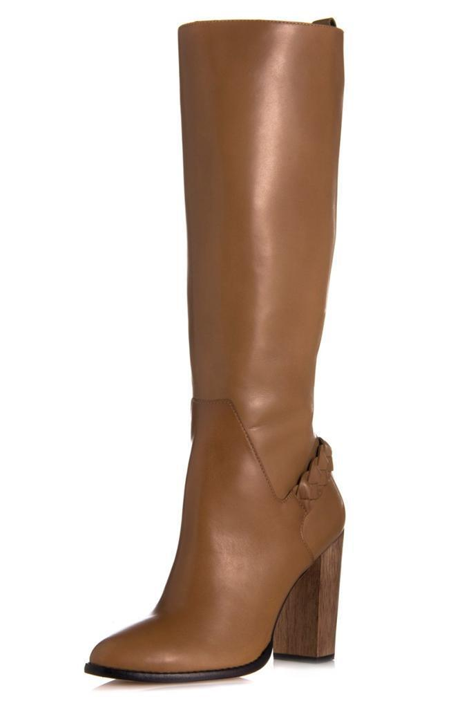 Elizabeth and James Sonny Boot Camel Leather elastic calf Braided Tall brown NEW