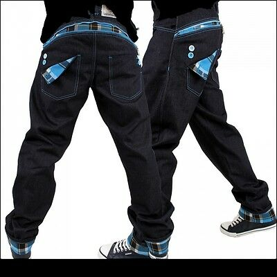 Dirty Money Jeans Blue Check Star Nappy Money Pants Time Is G Urban Hip Hop