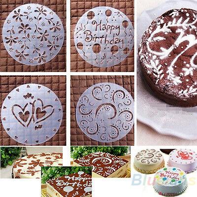 4Pcs Round Fondant Sugar Craft Cake Decorating Birthday Flower Heart Molds
