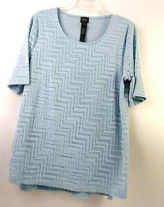 Travelers-Collection-By-Chicos-Womens-BLouse-Size-2-Light-BLue-Short-Sleeve-EUC