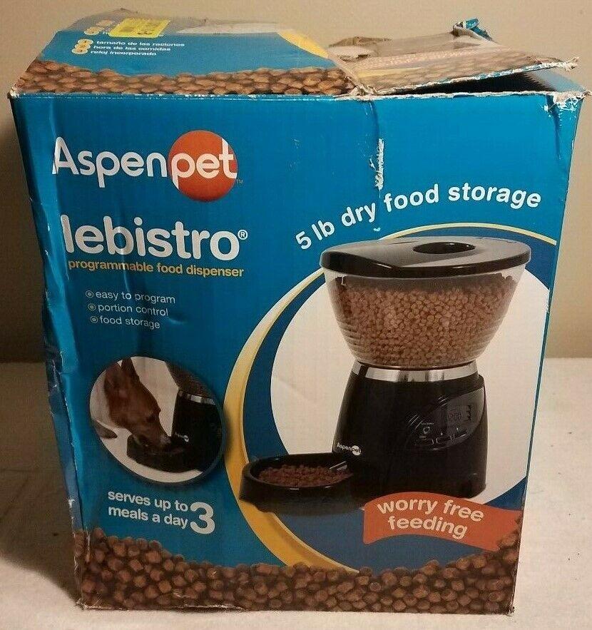 Aspen Pet Programmable LeBistro 5 lb Food Dispenser NEW DAMAGED BOX