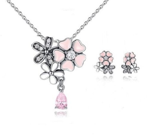gift box 925 Sterling Silver poetic bloom necklace with chain earrings set